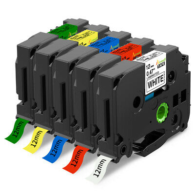5 Colors TZe-231 631 P-Touch Label Tape Compatible  Brother Label Maker TZ 12mm