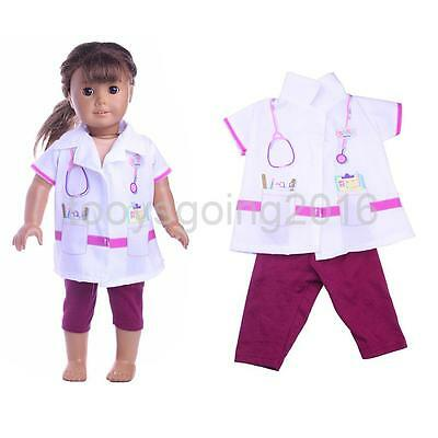 White Nurse Uniform Pants Set for 18 Inch Our Generation Doll American Girl
