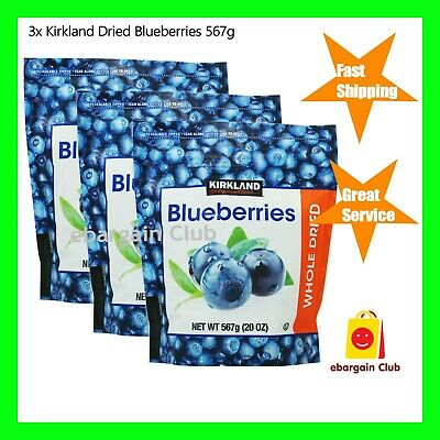 3x Kirkland Whole Dried Blueberries 567g (Total =1.701kg) eBargain Club eBC