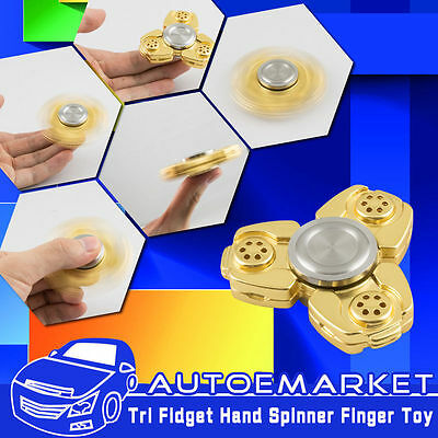 Gold EDC Hand Spinner Tri Fidget Focus Desk Toys Stocking Stuffer Kids/Adult