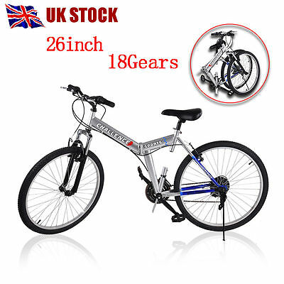 "New 26"" Wheel Folding Foldable Steel Mountain Bicycle Bike Front Suspension UK"