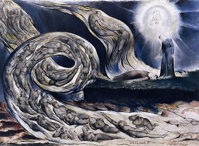 William Blake The Lovers Whirlwind Painting Poster Fine Art Re-Print A4