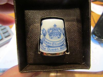 Highland China Thimble SCOTLAND - Blue & White - Queen Mother's 80th Birthday!