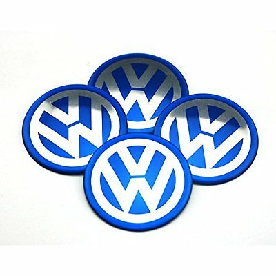 V w Blue Alloy Wheel Centre Stickers Caps x4 65mm Golf Passat Scirocco Bora Uk