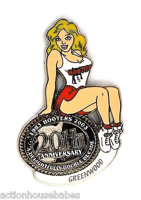HOOTERS RESTAURANT 20th ANNIVERSARY GIRL GREENWOOD LAPEL BADGE PIN