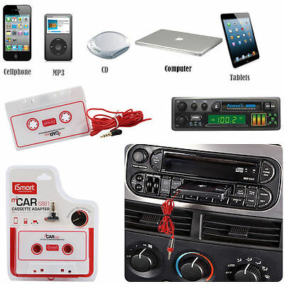 Car Cassette Adapter Tape Audio Music Converter Phone iPod MP3 Jack AUX UK White
