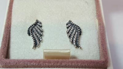 Pandora Majestic Feathers Sterling Silver  Stud  Earrings. S925 ALE with box