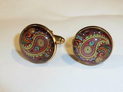 Gold Plated Cufflinks - Glass Dome - Paisley Design - Free Uk P&p..........w1514