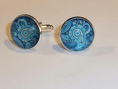 Silver Plated Cufflinks - Glass Dome - Paisley Design - Free Uk P&p........w1516