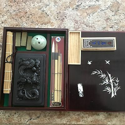 Oriental Asian Art Calligraphy Set Brush Stamp Mother Of Pearl Bird Box Dragon