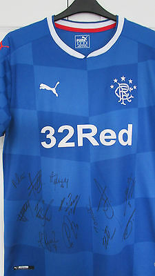 """Signed """" GLASGOW RANGERS F.C. """" 2016/17 HOME Shirt Signed by 13 (PROOF & COA)"""