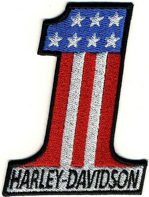 Toppa ricamata patch termoadesiva HARLEY DAVIDSON NUMBER ONE cm. 10 x 7,5