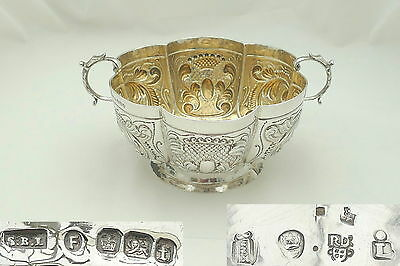 Rare Victorian Dutch Hm Sterling Silver Embossed Bowl 1898