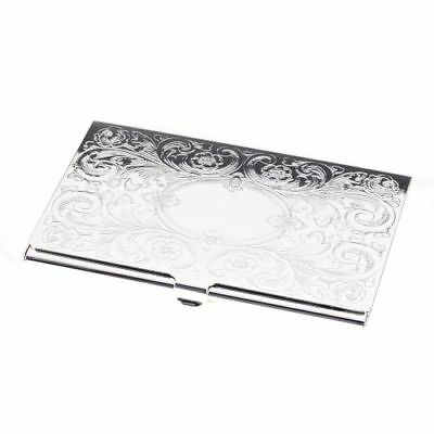 New Silver Plated Business Card Case With Filigree & Oval Design