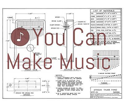 African Thumb Piano Full Size Luthier Blueprint Plan - 17 keys  ATP-010