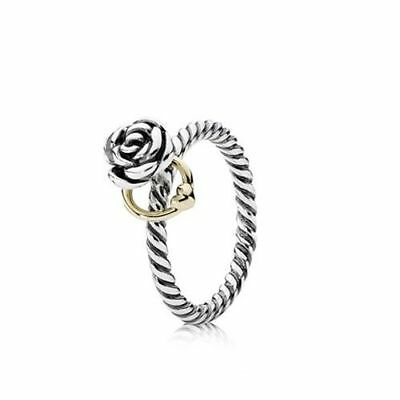 Original Pandora Bicolor Ring Rose Herz 190860  NEU