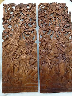 2 Antique Vintage Super Detailed Carved Indonesian Panels, Must Check The Photos