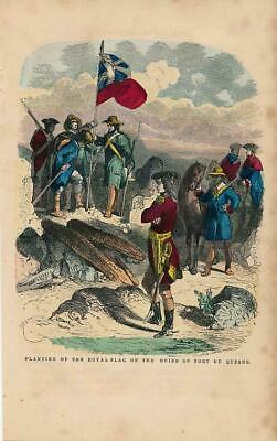 Royal flag at ruins of Fort du Quesne 1860 old hand color U.S. History print