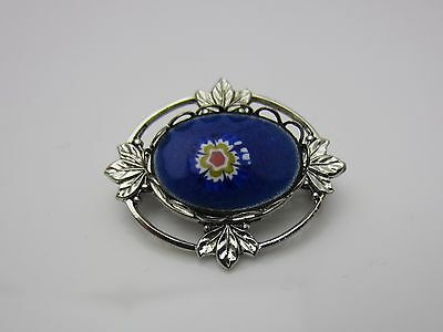 Vintage Jewellery Brooch Pin Small Blue Murano Glass Open Silver Tone 1960s