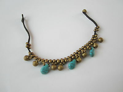 Handcrafted Thai Anklet  Brass Beads Bells Jingle Turquoise  Stone Pattern 8