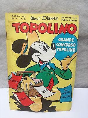 TOPOLINO N. 25 vol 5 MARCH 1951 excellent + sticker Walt Disney Mickey Mouse