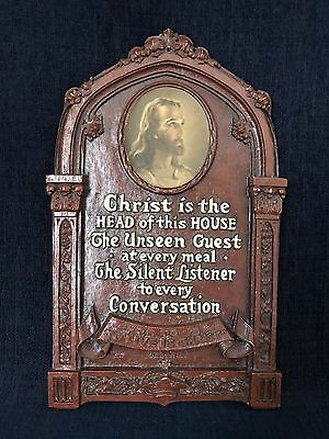 Vintage Jesus & Phrase Ornate Christian Wall Plaque Unknown Maker