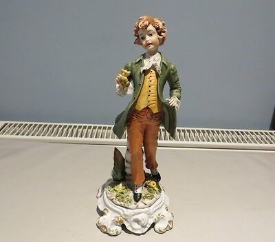 Capodimonte Figurine Young Boy With Rose Signed Ester