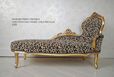 ORNATE FRENCH ROCOCO Style Gold & Leopard Print Chaise ...