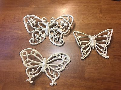 Set Of 3 Vintage 1978 Homco Off White Butterfly Wall Plaques Decor Art #7537