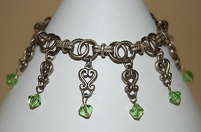 Vintage Sterling Dangle Chain Bracelet With Green Glass Beads And Hearts Italy