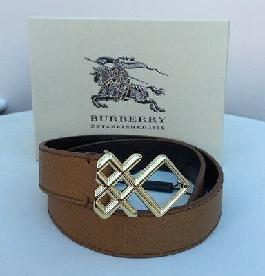 Burberry Signature Grain Brown Leather Check Buckle Belt - 26/65 - RRP £235