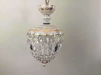 Antique Vintage Crystal Glass CZECH Petite Chandelier Beaded Bulb Cover Shade