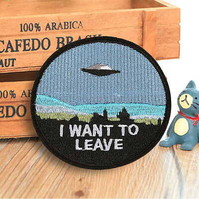 Cool Spaceship Embroidered Sew On Iron On Patch Badge Bags Fabric Applique Craft