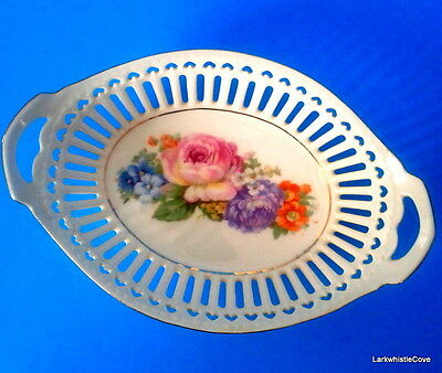 Antique Schumann Reticulated Inverted Hearts Cabbage Rose Hand Painted Nut Dish