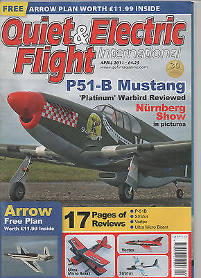 """Quiet & Electric Flight mag April 2011 with plan for """"Arrow"""" model aircraft"""