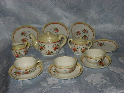 """vintage doll tea set, lusterware, Made in Occupied Japan, 15 pieces, 3-4"""" pieces"""