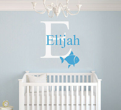 Custom Name & Initial Nautical Nursery Decor Vinyl Wall Art Decal WALL DECALS