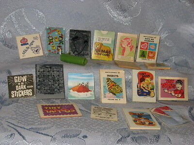vintage Cracker Jack toys, lot of 18, whistle, booklets, tattoos, games, pinball