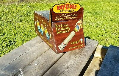 Antique 1920s RAYOVAC Flashlight Battery Counter Top Display Ray-O-Vac..RARE..