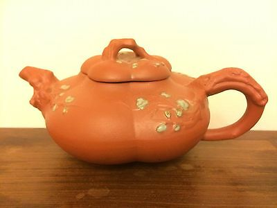 Chinese Yixin Zisha Purple Sand Pottery Teapot With Plum Flowers