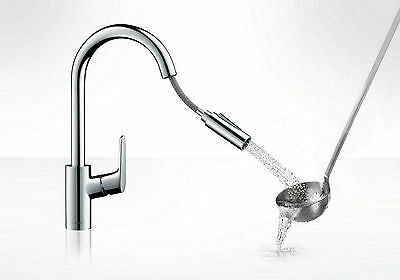 HANSGROHE FOCUS 2jet PULL OUT SPRAY Kitchen MIXER SINK TAP Swivel Spout