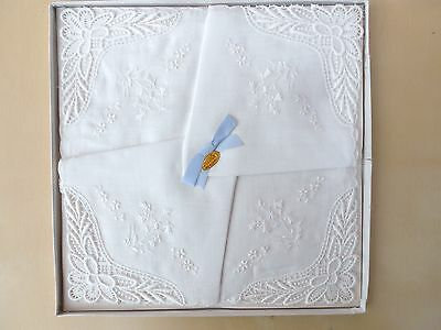 4 Vintage Swiss Fine Wedding Hankies, Handkerchiefs. Box Tag