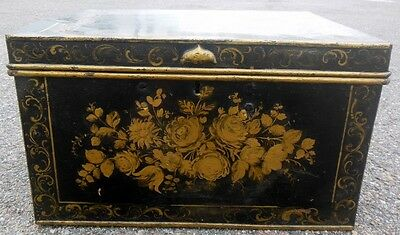 Antique 19th c Painted TOLE Metal Trunk Chest Roses Florals Rare large size