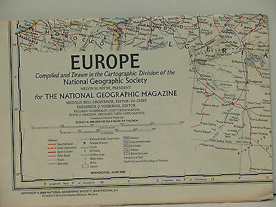 Vintage 1969 National Geographic Map of Europe