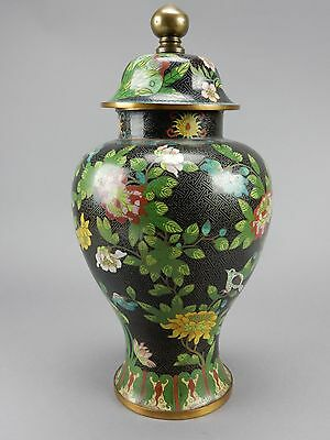BEAUTIFUL LARGE ANTIQUE CHINESE CLOISONNÉ LIDDED JAR / VASE 17 Inches