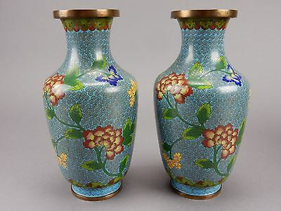 Gorgeous Pair of Antique Chinese Cloisonne Vases 9.5  inches