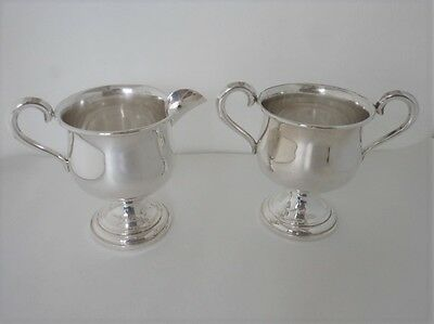 Sterling Empire Sugar & Creamer Set, 206 Grams, Weighted Bases