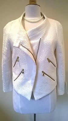 d6dd6483 ZARA CREAM BOUCLE tweed Jacket with zip design Size L New with Tags ...