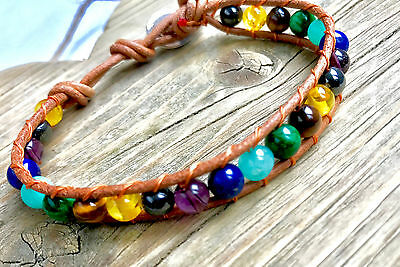 UK Ladies Boho Surfer Beach Chakra Natural Gemstone Crystal Bead Bracelet Wrap