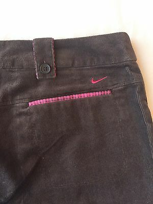 BNWT Nike Golf Women's Ladies Golf Trousers UK 12 Brown Corduroy